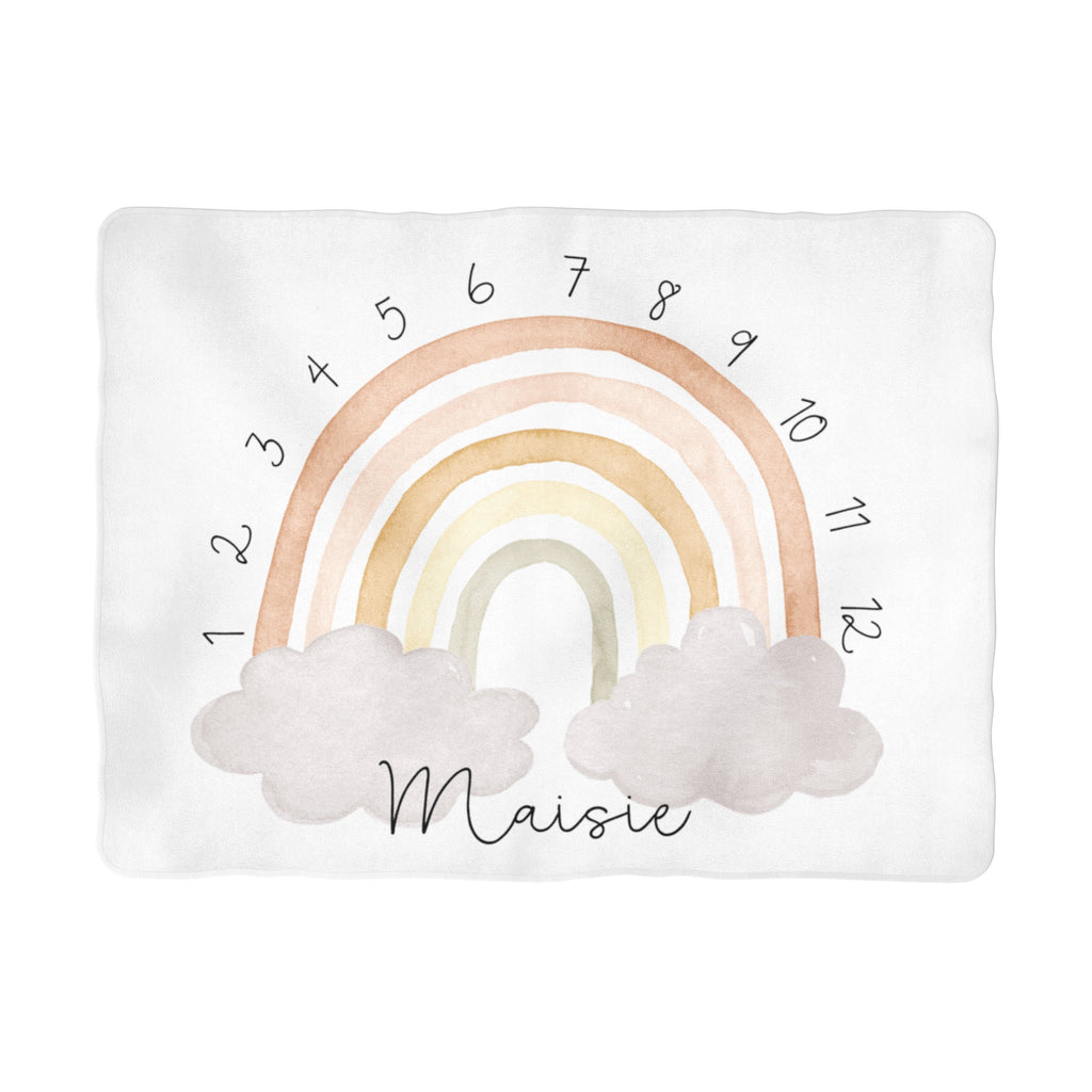 Neutral Rainbow Arch Milestone Blanket - Personalized
