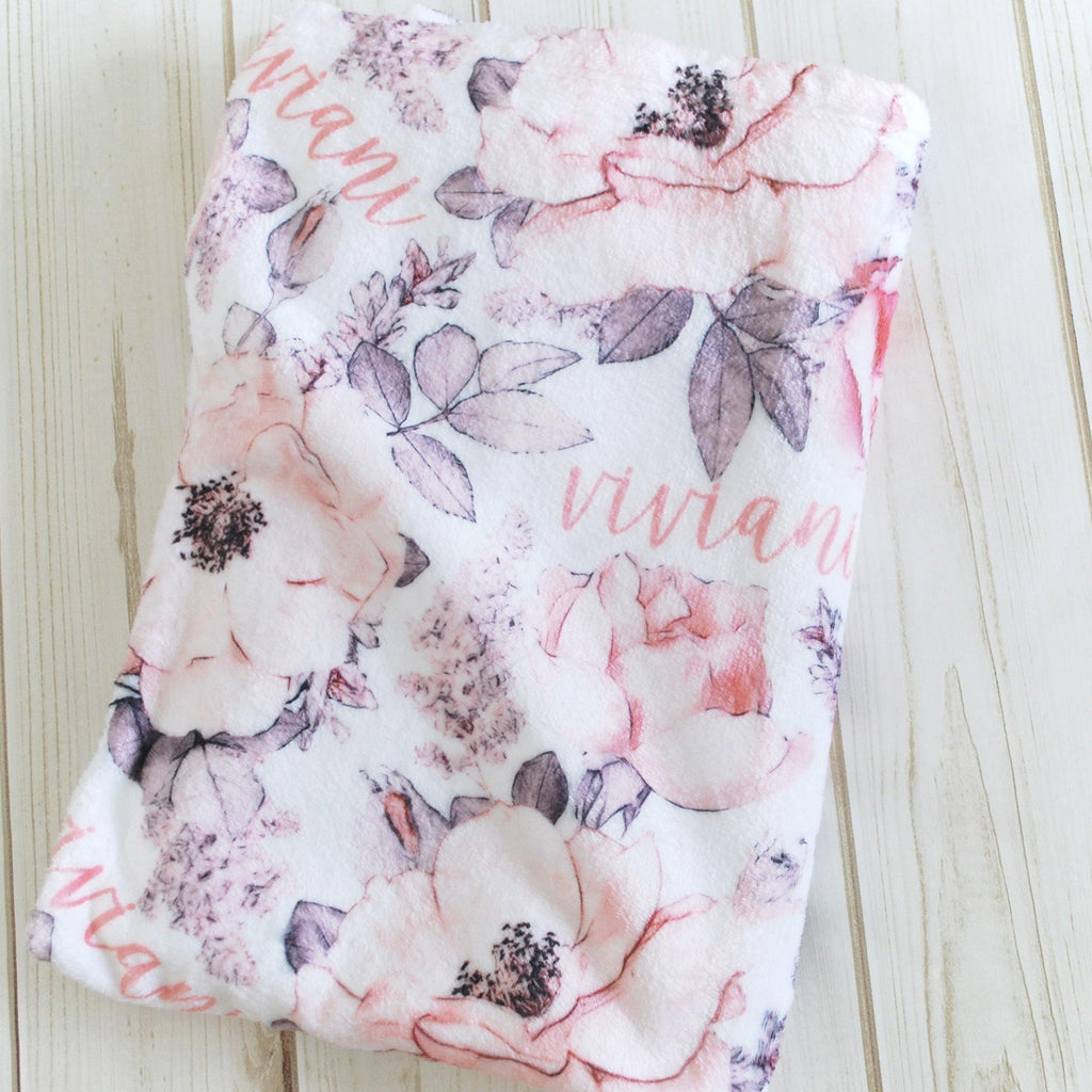 Plush Minky Personalized Blanket - Wallpaper Floral - Sugar House Baby