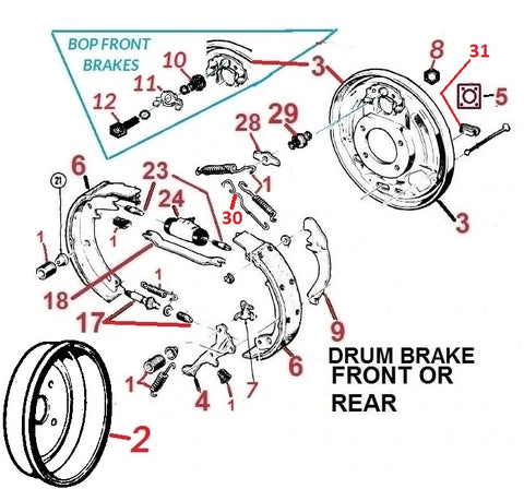 64-81 GM CARS DRUM BRAKE PARTS