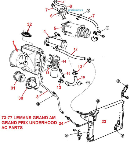 73-77 LEMANS GRAND PRIX UNDERHOOD AC PARTS