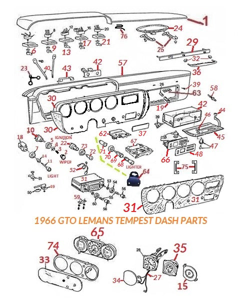 1966 GTO LEMANS TEMPEST DASH PARTS – Chicago Muscle Car ... Ac Wiring Diagram Gto on
