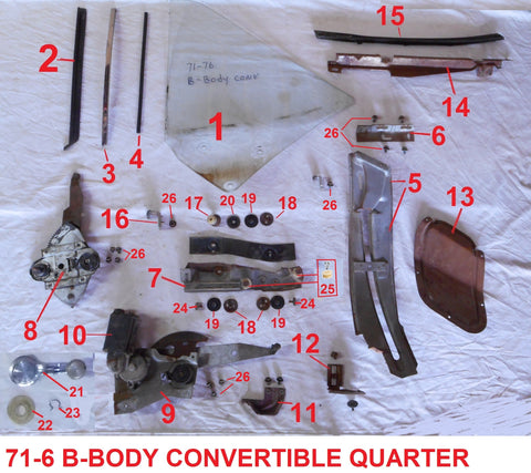 71-76 B-BODY QUARTER WINDOW PARTS CONVERTIBLE