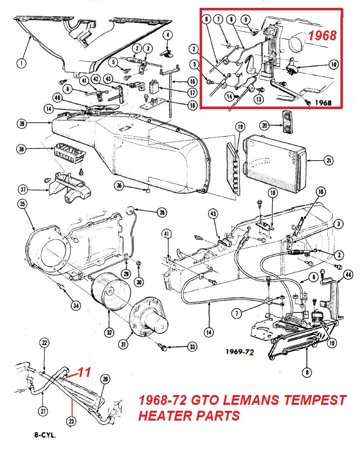 1968 72 gto lemans heater \u0026 defrost parts \u2013 chicago muscle 1968 gto ignition switch wiring diagram