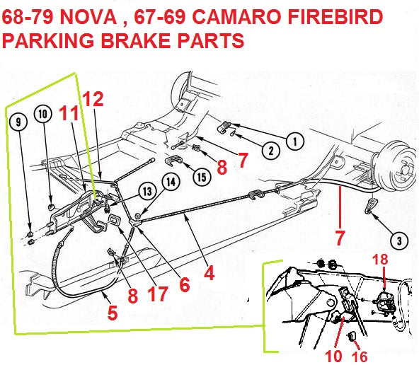 1968-79 NOVA 67-69 CAMARO FIREBIRD PARKING BRAKE PARTS – Chicago Muscle Car  Parts , Inc. | 1980 Camaro Parking Brake Wiring Schematic |  | CHICAGO MUSCLE CAR PARTS