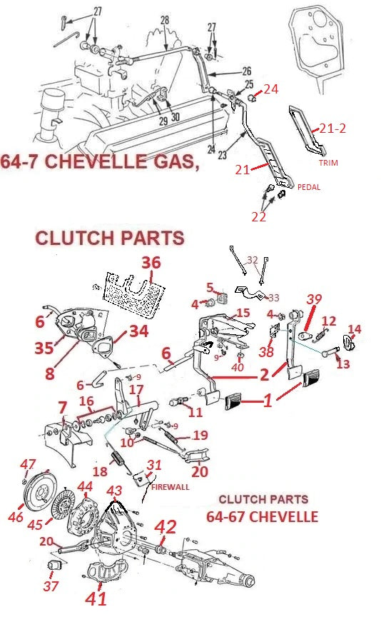 64-67 CHEVELLE GAS PEDAL & CLUTCH PARTS – Chicago Muscle Car Parts , Inc.CHICAGO MUSCLE CAR PARTS