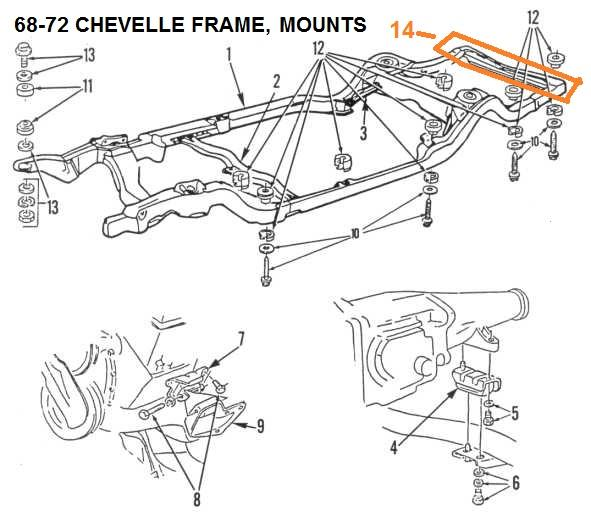 68 - 72 CHEVELLE MONTE CARLO FRAME, ENGINE & BODY MOUNTS – Chicago Muscle  Car Parts , Inc. | 72 Monte Carlo Engine Diagram |  | CHICAGO MUSCLE CAR PARTS