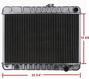 "RADIATOR, 4 ROW, AUTO 15 5/8""HT NECK ON RIGHT, NEW 64 65 GTO"