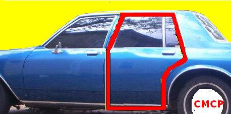 DOOR W/STRIP  REAR  4DR  80-96 PR C&D BODY'S  DV  98  REPO