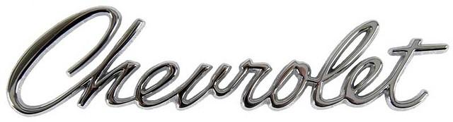 "HEADER PANEL & TRUNK EMBLEM, ""CHEVROLET"", REPRO"