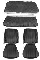 SEAT COVERS SET, FRONT BUCKETS & COUP, REAR, AQUA, VINYL