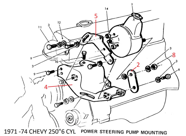 Ps Pump Rear Bracket Used Chevy 6 Cyl 71 74