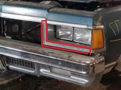 HEADLIGHT LOWER MOLDING, LEFT, 77 CAPRICE