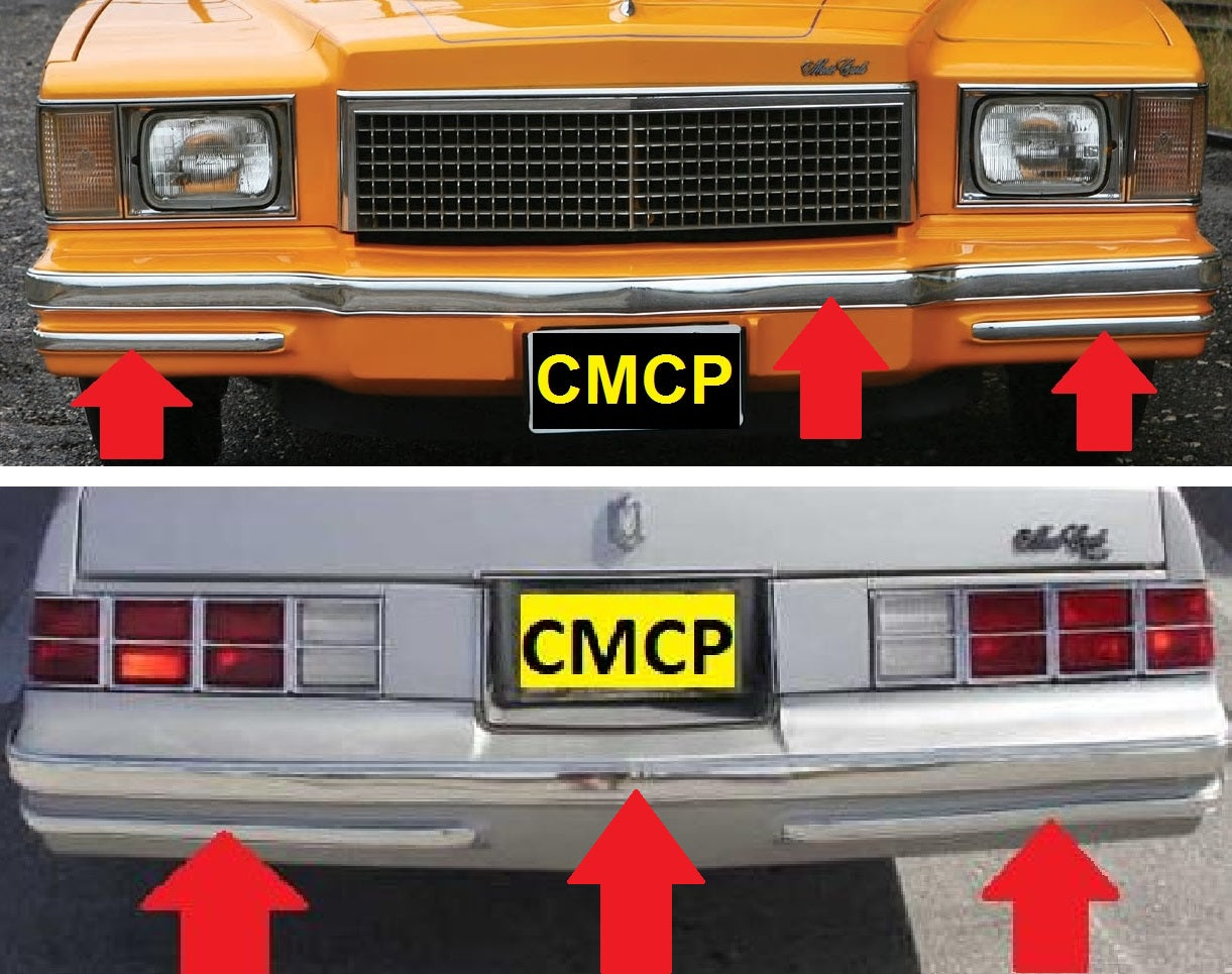 bumper chrome strips new set 78 80 monte carlo chicago muscle car parts inc bumper chrome strips new set 78 80 monte carlo