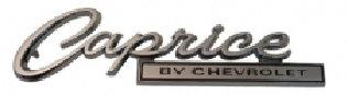 "TRUNK LID EMBLEM, CAPRICE, ""BY CHEVROLET"" 66 CP"