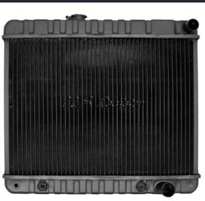 "RADIATOR, 4 ROW, AUTO, 17-3/8"" HT, NECK, ON DRIVER SIDE, NEW, 64-65 GTO"