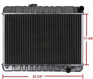 "RADIATOR, 4 ROW, MANUAL,17-3/8"" HT, NECK ON DRIVER SIDE, NEW, 64-65 GTO"