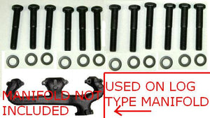 "EXHAUST MANIFOLD BOLT SET, SM, C, 12 BOLTS & WASHER, 2.25"" LONG STYLE"