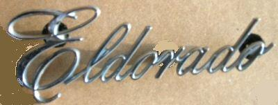 "TRUNK  EMBLEM  ELDORADO, 73-8, USED, 4.75"" LONG, CAST# 2666"