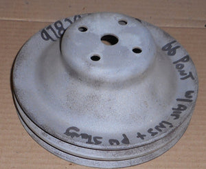 FAN PULLEY, V8 2 GROOVE, PS&SMOG PUMP, USED 66 PONTIAC