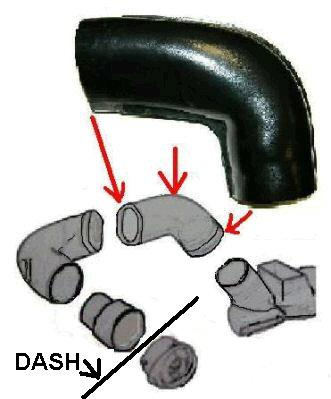 DASH SIDE VENT DUCT, AC, LEFT INNER,NEW,64-67 GTO