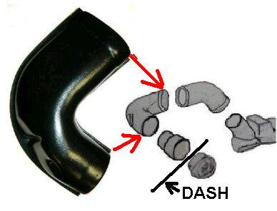 DASH SIDE VENT DUCT ,AC, OUTER, UPPER, NEW 64-67 GTO