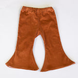 Girls Bell Bottoms Stretch Tan Corduroy