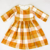 Girls Flannel Plaid Tan Dress