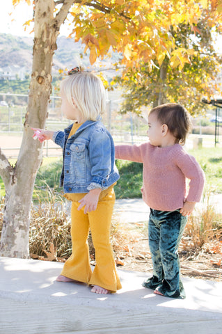 Girls Bell Bottoms Yellow Stretch