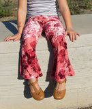Girls Bell Bottoms Pink floral velvet