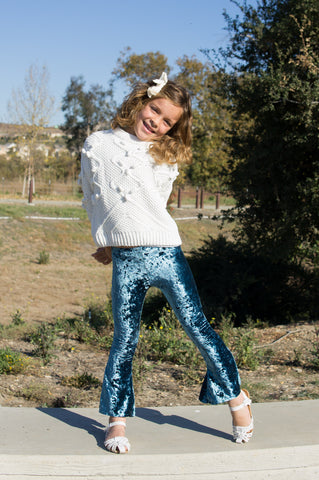 Girls Bell Bottoms Teal velvet