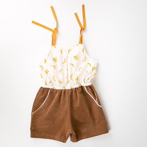 Girls Romper/ Jumpsuit Banana and Tan Corduroy Print