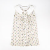 Girls Cactus Print with Contrasting Collar Cotton Dress