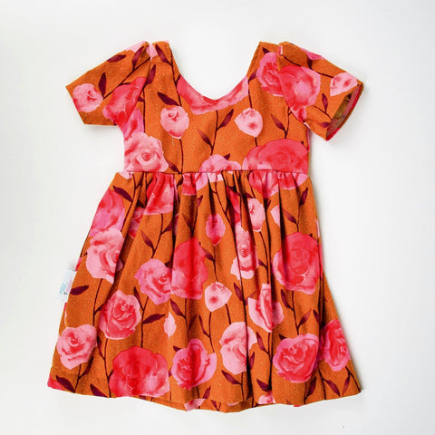 Girls Tan and Rose Print Cotton Dress