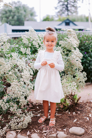 Girls white corduroy Pinafore/ Jumper