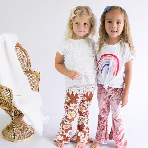 Girls Bell Bottoms Brown floral Print