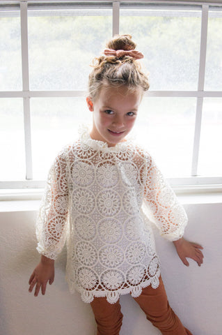 Lace tunic long sleeve shirt
