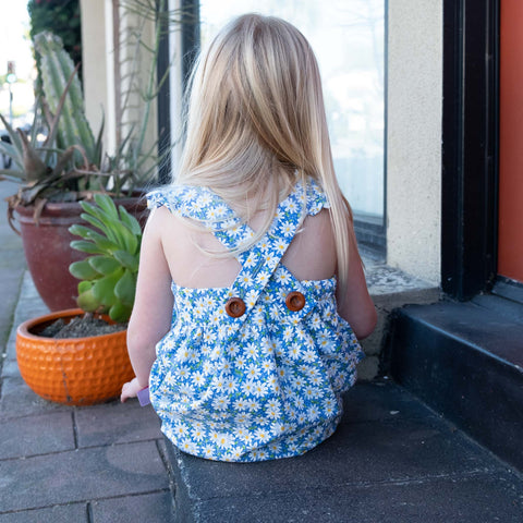 Girls Blue Floral Pinafore/ Jumper