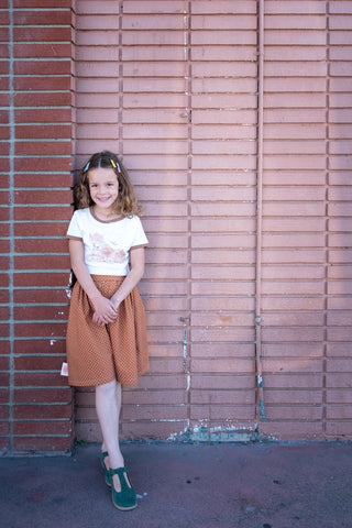 Girls brown polka dot skirt