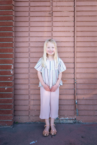 Girls Wide leg pants pink ribbed