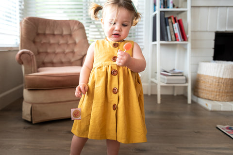 Girls Mustard Yellow Linen dress