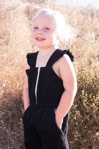 Girls Romper/ Jumpsuit Black Corduroy