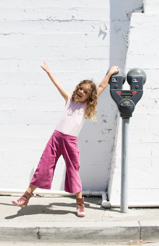 Girls Wide leg pants pink corduroy