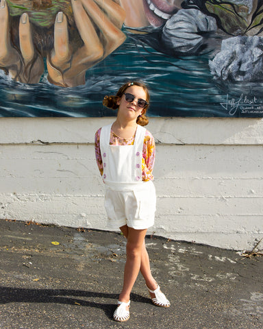 Girls Romper/ Jumpsuit White Corduroy