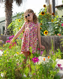 Girls Retro floral Print Cotton Dress