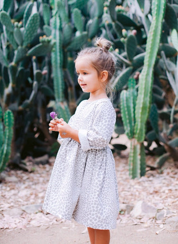 Girls Leopard print grey and white Cotton Dress