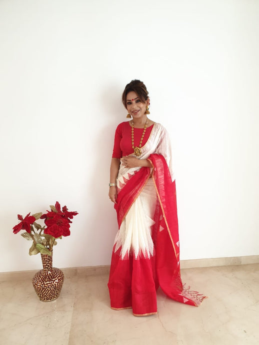 Celebrating Durga Puja in Tussar Matka Saree in White and Red