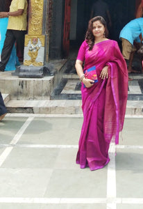 Bengal Looms Diva Elegance In Cotton Silk Saree with Temple Border in Purple