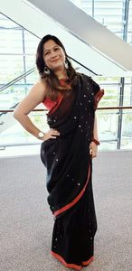 Contemporary Modern Look From Australia In a Silk Linen Saree