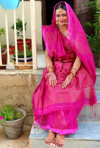 Khadi Cotton Silk Saree from Bengal Looms India