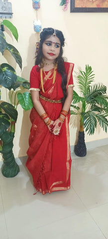 Diva in a Bengal Khadi Saree in Red from Bengal Looms India